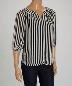 Another great find on #zulily! Black & White Stripe Notch Neck Top by Ezra #zulilyfinds