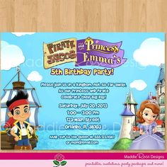 184 best princess pirate party images on pinterest ideas party pirate and princess invitation printable birthday party digital invite sofia the first jake and filmwisefo