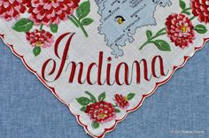 Vintage Indiana HankyNo. 3015 by GirlMakesGoods on Etsy
