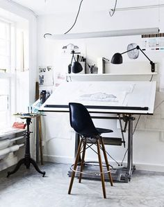 Workspace | Photo via Loveology | Fiberglass Side Chair on a Bar Stool | http://modernica.net/dowel-30-swivel-bar-stool-side-shell.html