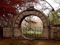 Autumnal Moongate at Chateau Sur Mer, Newport, RI.  Melissa Martin Ellis photo