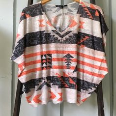 Forever 21 Aztec shirt Light shirt. Gray, orange and ivory colors. Burnout material. Forever 21 Tops