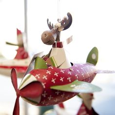 Bouncy Plane with Moose Christmas Ornament
