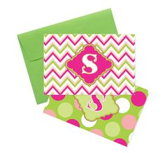 Monogrammed Note Cards in Chevron Print or Polka Dots by Alli's Studio
