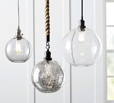 Large and Small PB Classic Pendant - Glass Globe, Mercury or Smoke with nickel cord, large for island kitchen & small for kitchen sink 3 Light Pendant, Globe Pendant, Pendant Light Fixtures, Pendant Lighting, Pendant Lamps, Lighting Sale, Custom Lighting, Home Lighting, Beach Lighting