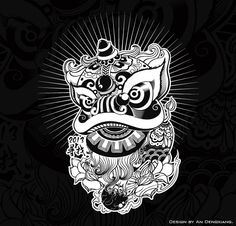 This is my painting lion.Lion dance is a traditional Chinese folk art, which is performed to celebrate festivals or ceremonies. Chinese Lion Dance, Lion Dragon, New Year Art, Lion Illustration, Dragon Dance, Fu Dog, Asian Tattoos, Japanese Tattoo Art, China Art