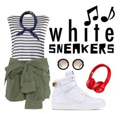 WHITE SNEAKERS by elenimoutevelis-1 on Polyvore featuring polyvore, fashion, style, T By Alexander Wang, Faith Connexion, Beats by Dr. Dre, Moschino, Miu Miu and clothing