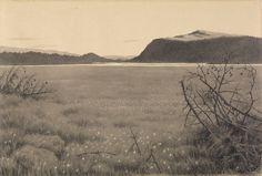 Theodor Kittelsen (1857 - 1914): Myrene ved Solevann, Eggedal / Marshes by Solevann, Eggedal.   1896-1899, pen, pencil, wash and gouache on paper.