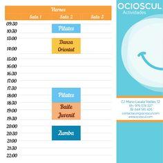 Actividades de hoy Viernes: 9h30' #Pilates 13h00' #DanzaOriental 17h30' #Pilates 20h00' #Zumba mas info en ocioscul.com