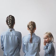 Here we go again   I had intended to use this series of photos to round up our week but this week has just been full of school holiday craziness. So here we are with our wet plaited hair from swimming and matching denim shirts of course.
