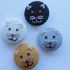 Cross Stitch Kitten Badge