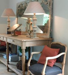 leaning mirror on wall table - Google Search