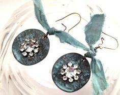 Faded memories patina rhinestone sari silk earrings, brass earrings, GP brass earrings, vintage style earring, romance earring, pale teal. - Edit Listing - Etsy