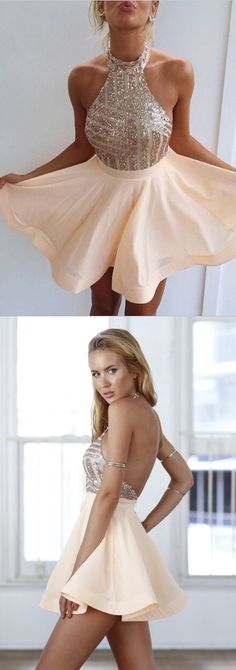 dress for homecoming, 2016 short homecoming dresses, sparkly peach homecoming dresses, cheap homecoming dresses, backless homecoming dress, sexy cocktail dresses