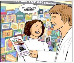 A spoof picture of Luke Skywalker and Princess Leia from Star Wars icking out a fathers days card for Darth Vader Starwars, Star Wars Meme, Star Wars Art, Shrek Meme, Darth Vader Father, Dark Vader, Star Wars Personajes, Funny Memes, Hilarious