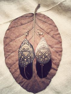 All seeing Eye  FEATHER LEATHER EARRINGS  boho gypsy by SiamicWear