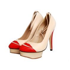 Charlotte Olympia Kiss me leather pumps bring us big surprise because of its red lips cap toe. Different from other cap toe shoes, Charlotte Olympia kiss me cap toe shoes are with sexy red lips as cap toe, so that a pair of common platform pumps is easy to catch people's eyes.