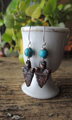 Artisan Jewelry, Turquoise and Copper Arrowhead Earrings, Artisan Earrings, Handcrafted Copper Charms, Rustic, Urban Chic Jewelry, Cowgirl by DianesAddiction on Etsy