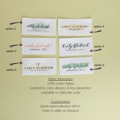 personalized cotton fabric label customized with your name or shop showcase your handmade work with a professional custom label sewn or ironed onto your