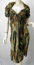 JUNYA WATANABE COMME DES GARCONS Olive/Brown Print Crepe Gathered Dress sz M
