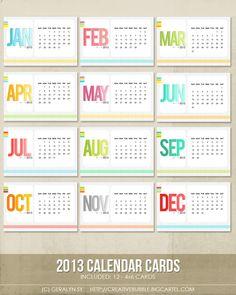 Image of 4x6 2013 Calendar Cards (Digital)