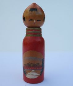 Japanese Kokeshi Doll /Traditional Vintage Hakone Waterfall Bridge Painting in Antiques, Asian Antiques, Other Asian | eBay