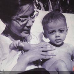 We present the biggest star of Bollywood in his nappies. This kid with raw intense looks is Salman Khan who poses with his mother.