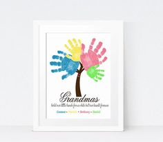 Grandmother Gift Idea – Sibling Wall Art – Handprint Art – Grandparents Gift – Personalized Print – Grandma Quote – Mother's Day Gift Idea – Gift Ideas Grandparents Day Crafts, Mothers Day Crafts For Kids, Gifts For New Parents, Fathers Day Crafts, Grandparent Gifts, New Baby Gifts, Baby Presents, Baby Crafts, Toddler Crafts