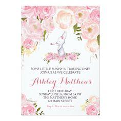 Bunny birthday pink Beautiful Floral Invitation, Card