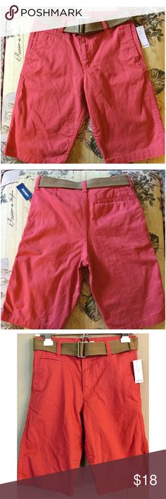 🆕Boys Cotton Chinos NWT! Gorgeous lightweight cotton chinos with belt. Vibrant salmon color. Old Navy Bottoms Shorts