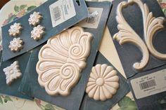 The Polka Dot Closet: How to Make Ornamental Plaster Furniture Appliques Plaster Crafts, Plaster Art, Plaster Molds, Wood Crafts, Diy And Crafts, Furniture Fix, Repurposed Furniture, Furniture Projects, Furniture Makeover