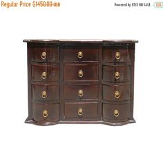 25% OFF SALE Chinese Brown 12 Drawers Chest by GoldenLotusAntiques