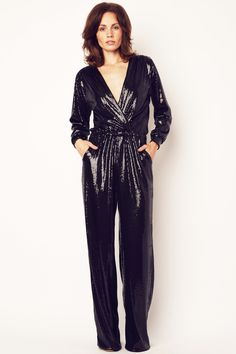 Black Sequin Long Sleeve Jumpsuit