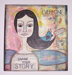 Art Altered Mix Media Collage Primitive Folk Art by primsgonewild, $25.00