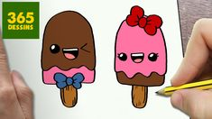 COMMENT DESSINER POPSICLES KAWAII ÉTAPE PAR ÉTAPE – Dessins kawaii ...