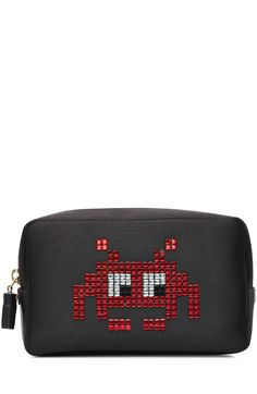 ANYA HINDMARCH Space Invaders Makeup Pouch. #anyahindmarch #bags #leather #pouch #accessories #