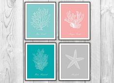 Sea Coral and Starfish - Set of 4 Art Prints - Sea Life Beach Decor - Sea Fan Coral Starfish Silhouettes