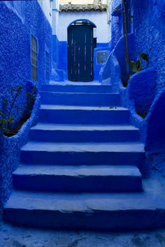 Blue stairs in Chefchaouen, the blue city of Morocco