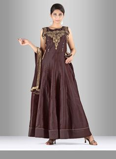 Add grace and charm towards the appearance in this silk anarkali suit. The…