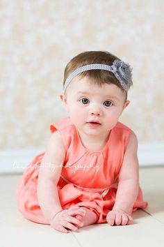 Gray Chevron Shabby Flower Headband, Baby Headband, Toddler Headband, Girls Headband on Etsy, $3.50