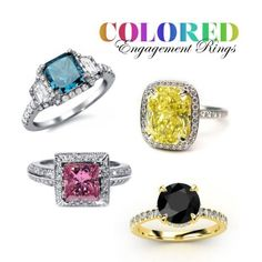 Bridal Jewelry Trend 2012: Colored Diamond Engagement Rings... Blue Diamond, Canary Yellow Diamond, Pink Diamond & the Carrie Bradshaw Black Diamond :)