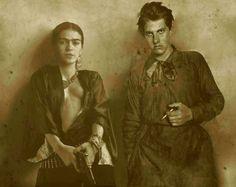 Frida Khalo & Vladimir Maïakowski - Montage photo issu de plusieurs manipulations successives via Robert Toren et Imogen Cunningham