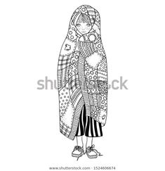 Cute Little Girl Wrapped Blanket Book Stock Vector (Royalty Free) 1524606674 Ethnic Patterns, Zen Art, Coloring Book Pages, Cute Little Girls, Zentangle, Royalty Free Stock Photos, Blanket, Drawings, Drawing Ideas