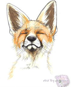 The Happy Fox red fox drawing in pen and ink Ink Pen Drawings, Art Drawings Sketches, Animal Drawings, Fox Tattoos, Tree Tattoos, Deer Tattoo, Raven Tattoo, Tattoo Ink, Arm Tattoo