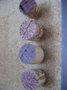 wine cork projects--wine cork thumb tacks push pins from the wooden bee along with the site that tells you at least a dozen other wine cork ideas.