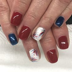 Patriotic Red White and Blue firework Gel Nails Blue Nail Designs, Simple Nail Designs, Blue Nails, White Nails, Firework Nails, Blue Fireworks, Patriotic Nails, 4th Of July Nails, Gelish Nails