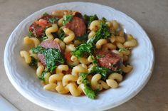 Sausage, Kale, and White Bean Pasta ~ AnnaShortcakes