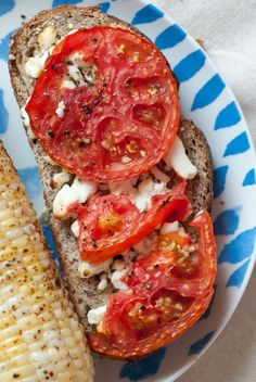 tomato and goat cheese toast. i adore goat cheese drizzled with balsamic vinegar and a tad of extra virgin Greek olive oil.