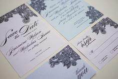 Henna Print Modern Indian Wedding Invitation Suite -