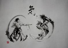 A photo of Aikido ki circles painting. Ki 気 - the essence of Aikido 合気道. Sumi-e suibokuga ink painting.